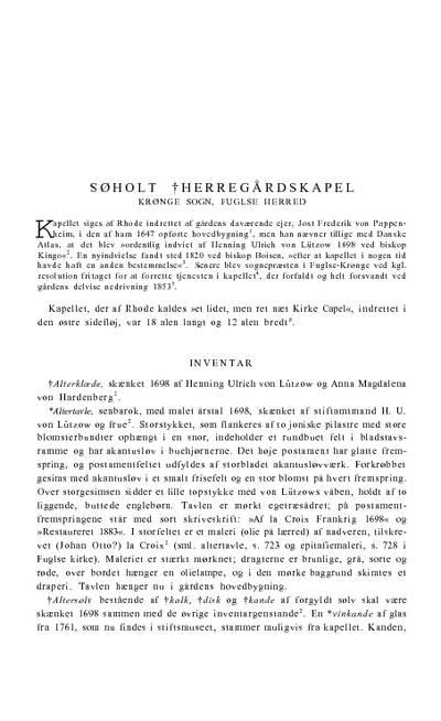 Søholt †herregårdskapel